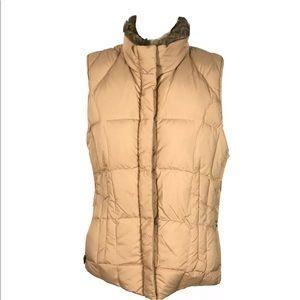 Eddie Bauer Goose Down Puffer Vest Faux Fur Collar
